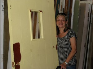 Kate and her new shed door