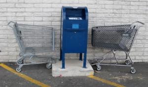 Carts accosting a mailbox/Ryn Gargulinski