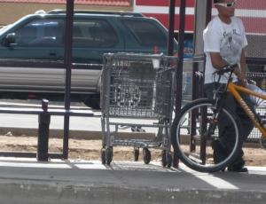 Cart at a bus stop/Ryn Gargulinski