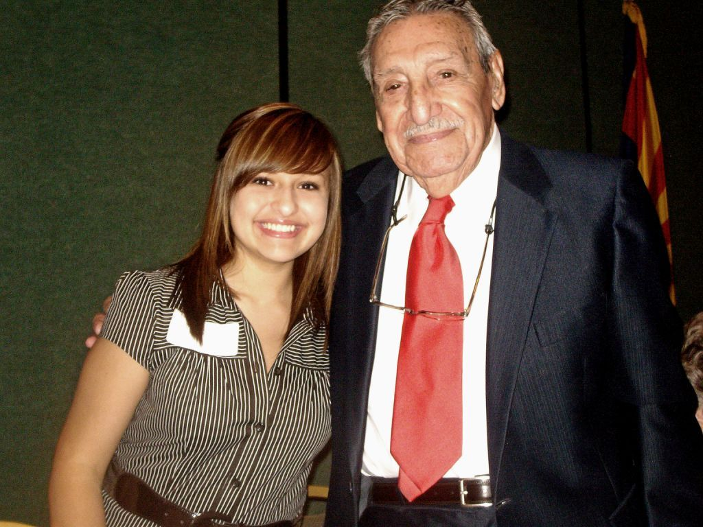 Kailey Carranza and Gov. Raul Castro