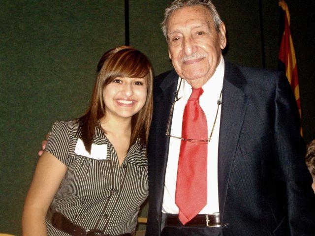 Kailey Carranza and Gov. Raul Castro