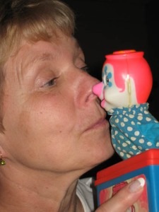 MarcyMom up close and personal with a clown/Photo Ryn Gargulinski