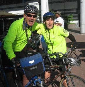 Cutest bicycling couple at downtown bike fair/Ryn Gargulinski