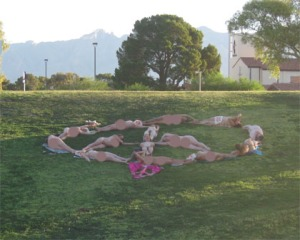 Code Pink members formed a naked peace sign at Himmel Park on May 9/submitted photo
