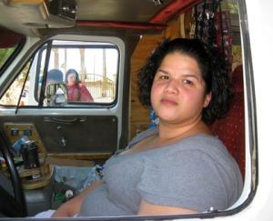Katrice Vega in the ice cream truck driver's seat/Ryn Gargulinski