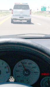 Behind Border Patrol vehicle on Interstate 10/submitted photo